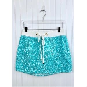 Lilly Pulitzer • Teal White Print Linen Skirt • S
